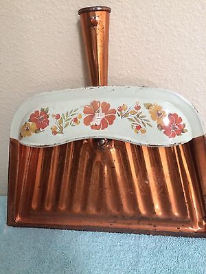Vintage J. V. Reed Metal Dust Pan, Flower Design, Copper Finish, Louisville