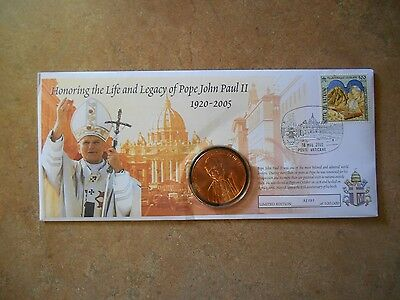 Pope John Paul Ii Commemorative Coin And Stamp Limited Edition 2005