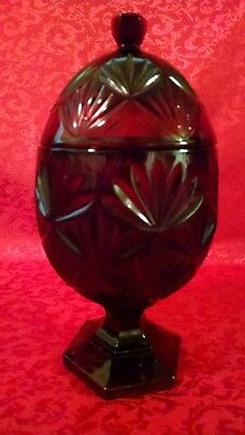 """Beautiful 11"""" Cristal D'Arques Ruby Red Footed/Lidded Egg Shaped Candy Dish."""