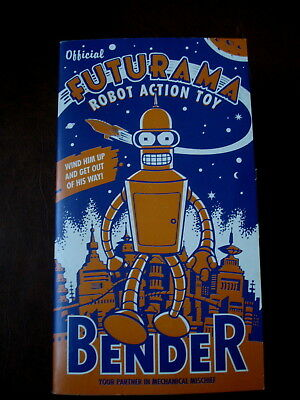 FUTURAMA BENDER Official Wind Up Robot Action Vintage Toy Rocket Collectible NIB