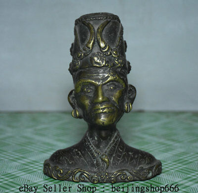 """5.2"""" Old Chinese Copper Bronze primitive man people chief Head Bust Sculpture"""