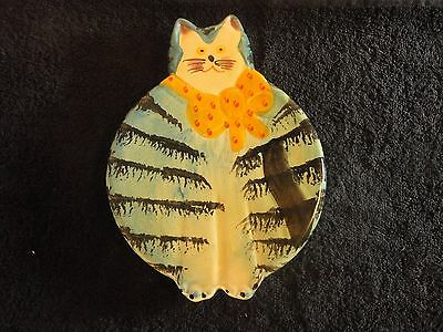 Italica-ARS Hand Painted Italian Pottery-Cat-Trivet-Wall-Hanging. Excellent