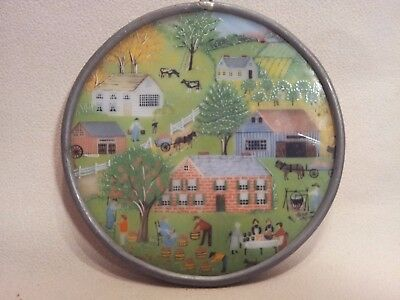 Antique Vintage Stained Glass Panel Round #2