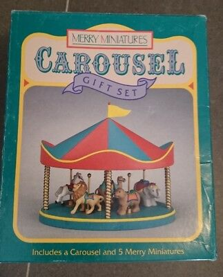 Hallmark Carousel Merry Miniatures Gift Set 1990 mint never removed from box