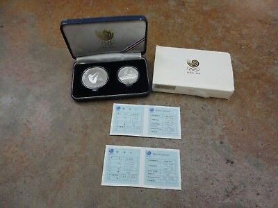 1988 Seoul Olympic Games 2 Coin Silver Proof Set Diving & Tug of War with COA