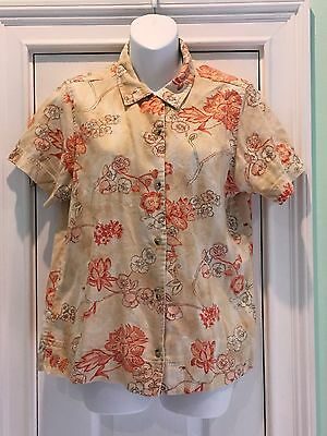Columbia Women's Multi-Color Short Sleeve Button Up linen Floral Shirt Medium