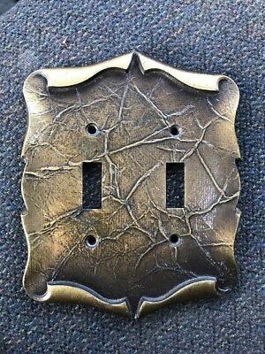 Vintage Amerock Carriage House Antique Brass Double Light Switch Cover Plate