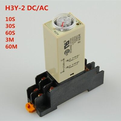 H3Y-2 DC/AC Delay Timer Time Relay 10S/30S/60S/3MIN/60MIN with Base US Shipping