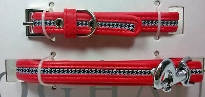 Dog Collar and Leash Set Small Breed Houndstooth