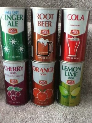 ANN PAGE Straight steel,pull top cans. 6 different flavors.