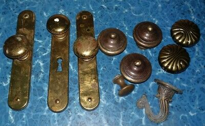 Vintage Mixed Lot of Brass Drawer Knobs Pulls Hook 10 Pieces