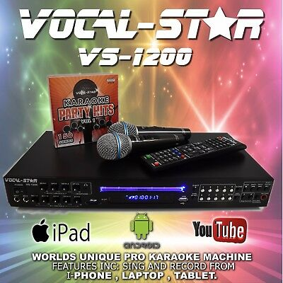 Vocal-Star Vs1200 Cdg Dvd Bluetooth Karaoke Machine Player 2 Mics 150 Songs Xdem