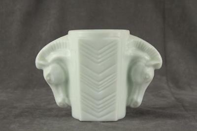 Vintage Milk Glass Macbeth Evans American Chevron Horse Head Handle CHILD CUP