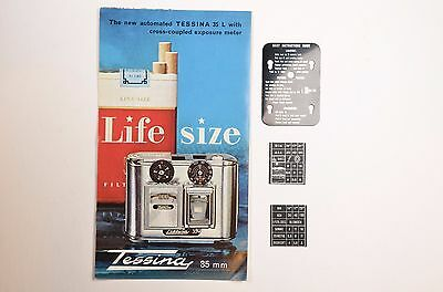 TESSINA literature with Instruction & 2 ASA METAL Plates for Subminiature Camera