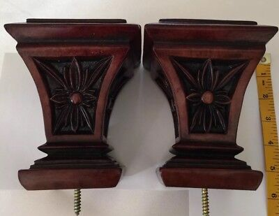 Antique Bed Post Finials Solid Wood very heavy medium BEAUTIFUL!