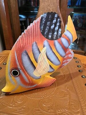 Wooden Hand Painted Tropical Fish Shelf Figurine Marine Decor
