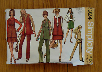Vintage Simplicity Pattern 8924 Misses Size 10 Wardrobe Sewing Retro Groovy