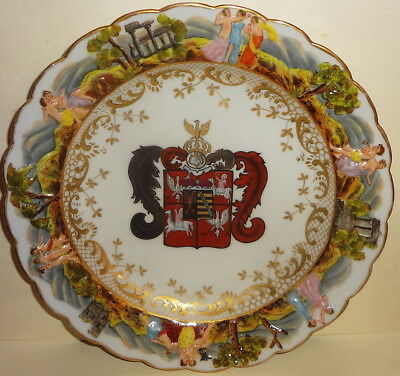 19thC NAPLES mark CAPODIMONTE ARMORIAL PLATE with NAKED SCENES IN RELIEF - MINT