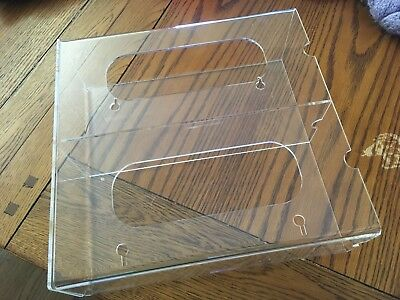 Clear Side Load Glove Double Box Holder Medical Dental Acrylic w/ Dividers