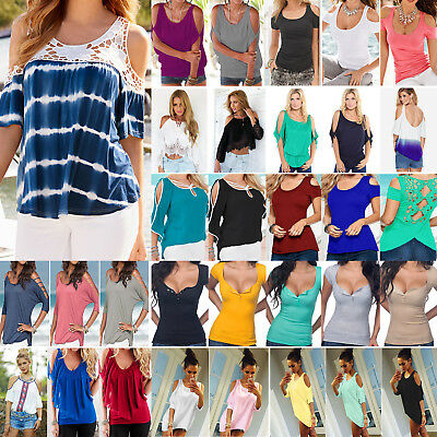 Women Cold Shoulder T Shirt Blouse Ladies Summer Casual Loose Tee Top Plus Size