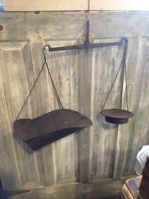 Antique Early Hanging Scale Pans Country Store Farm General Primitive