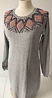 Boden Gray Knit Dress Tunic French Knots 4