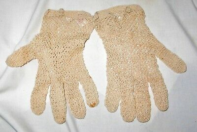 Vintage Ecru Crocheted Lace Mitts French Pattern 100% Cotton