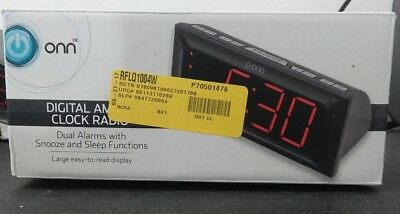 Onn Digital AM/FM Clock Radio Snooze With Dual Alarms And Battery Backup New