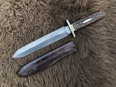 Antique Joseph Rodgers Spear Point Bowie Knife Civil War Etched Blade Stag 1860s