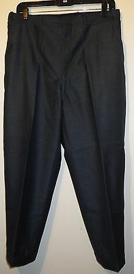 "1950's-60's VINTAGE PANTS 31"" X 23"" BLUE SHARKSKIN TROUSERS CUFFED MOD NO-ROLL"