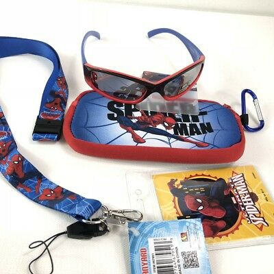 Kids Boy's Marvel Spider-Man Sunglasses Ages 3+ & Case Set with Lanyard