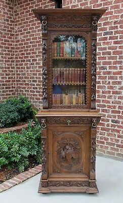 Antique French Oak Black Forest Harvest HUNT Cabinet Bookcase SLIM Width 2 of 2