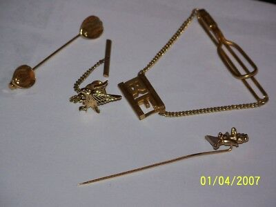Vintage Mens Lot Of 4 Gold Pins-Tie & Collar