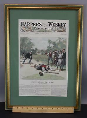 19thC Antique 1889 NY, HARPER'S WEEKLY, Hand Colored Baseball Engraving ... NR