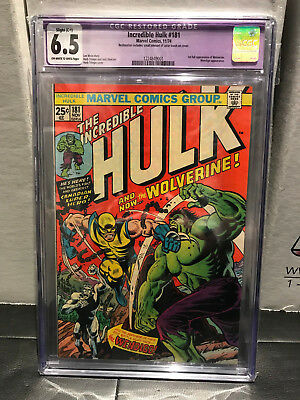 The Incredible Hulk #181 CGC 6.5 Restored OW/W Pages (Nov 1974, Marvel)