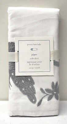 NEW Pottery Barn KIDS Piper Embroidered Nursery Crib Skirt, GRAY