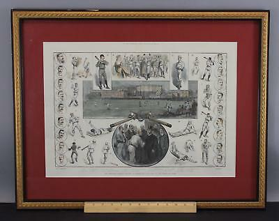19thC Antique 1889  NY The Illustrated London, Baseball Hand Colored Engraving