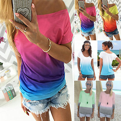 Womens Gradient T-Shirt Tops Summer Short Sleeve Casual Loose Blouse Tee Shirts