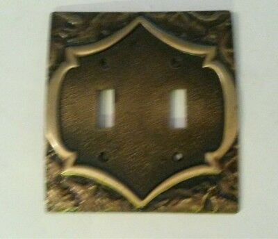 Vintage Amerock Monterey Antiqued Brass Light Switch Plate Cover Double Toggle