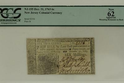 Antique Paper US COLONIAL Currency SIX SHILLINGS 1763 New Jersey New 62 PCGS