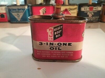 Old Vintage 1950's 3-in-One Oil 1 oz Tin Can Oiler 3/4 full