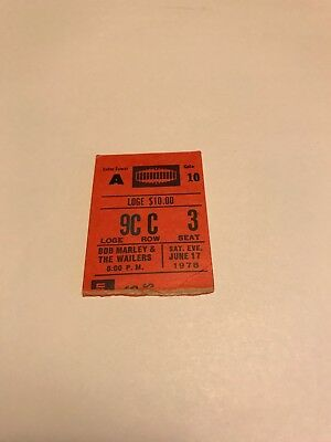 Very Rare Bob Marley Ticket Stub For Madison Square On June 17 1978