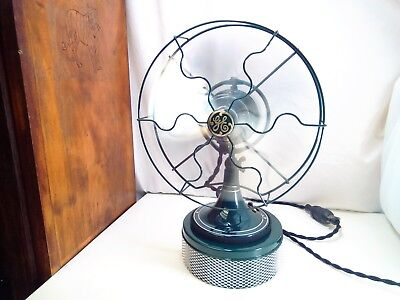 "Antique G.E. 10""DC/ 32 volt two speed oscillating electric fan w/aluminum blades"
