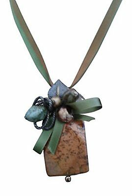 About Face Handmade Bronze Pendant Necklace With Swarovski Beads with Silk