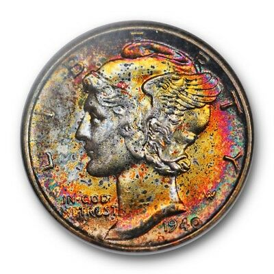 1940 Mercury Dime NGC MS 63 Pretty Colorful Toning Old Fatty Holder
