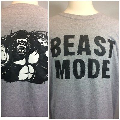 Beast Mode Gorilla Workout T-shirt Xl Dry blend Great Look Gray / Run Jog Gym