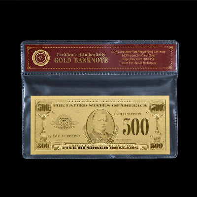 WR Proof US $500 Gold Foil Banknote Dollar Bill In WR COA Sleeve