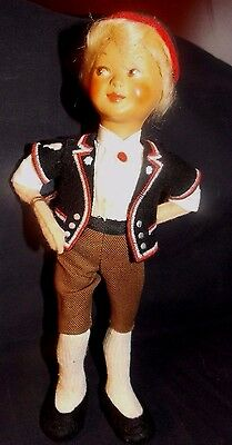 "Unique Vintage Celluloid & Felt""side Glancing Boy""doll! Germany/schweizer/tags"