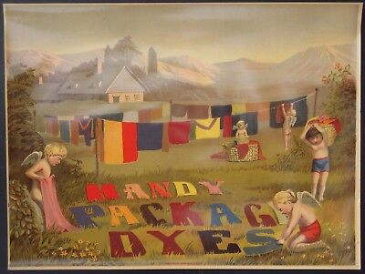 Large Victorian Color Lithograph Advertising Sign for Handy Package Dyes