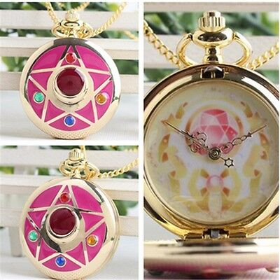 Sailor Moon Life With Sailor Moon Crystal Star Pocket Watch Necklace Anime Gifts